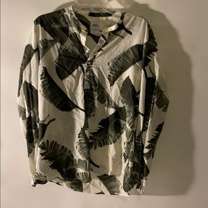 Zara XL cotton palm leaf graphic top